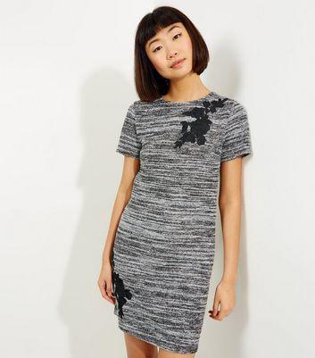 Grey Space Dye Fine Knit Floral Badge Mini Dress
