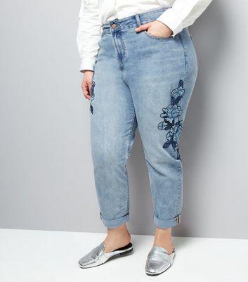 Curves Blue Floral Emroidered Mom Jeans