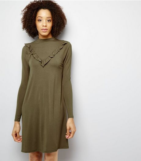 Khaki Frill Trim Jersey Dress | New Look