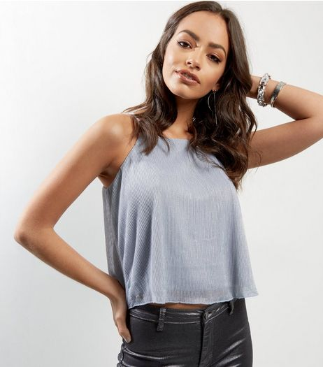 Blue Vanilla Silver Pleated Cami | New Look