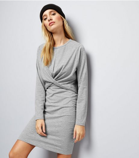 Grey Twist Front Long Sleeve Bodycon Dress  | New Look
