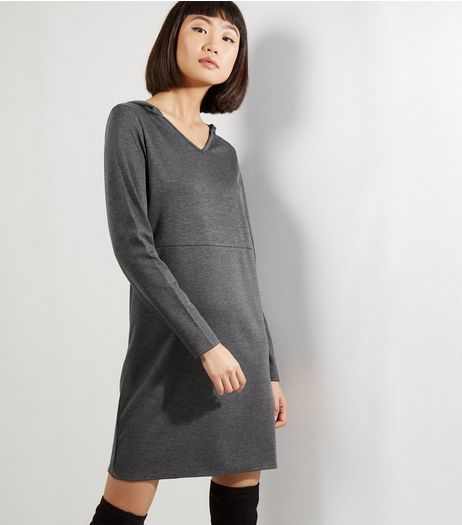 Grey Hooded Long Sleeve Shift Dress | New Look