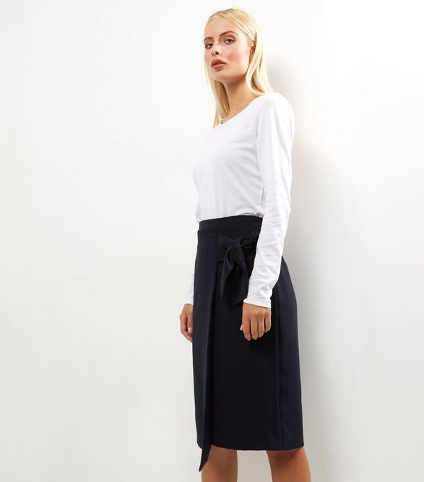 Navy Tie Front Midi Pencil Skirt