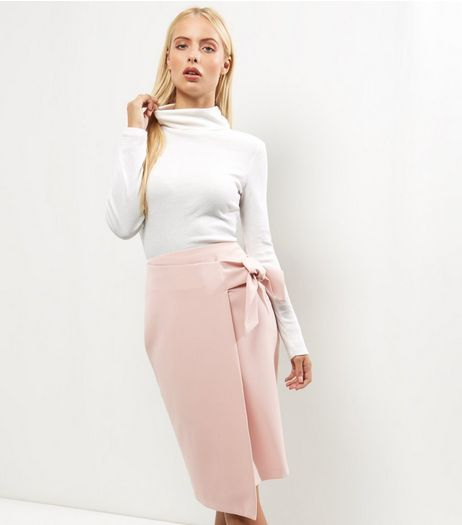 Shell Pink Tie Waist Pencil Skirt  | New Look
