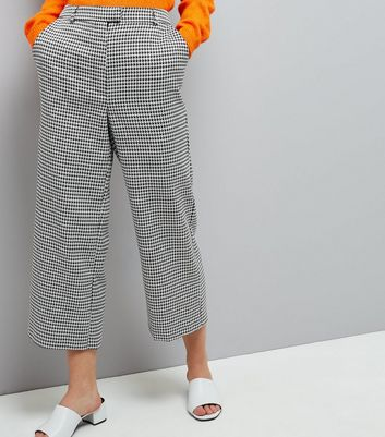 Black Dogtooth Print Wide Cropped Trousers