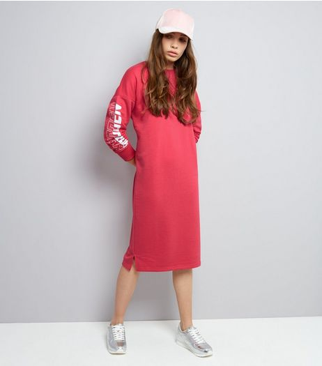 Bright Pink Forbidden Sleeve Print Jumper Dress | New Look