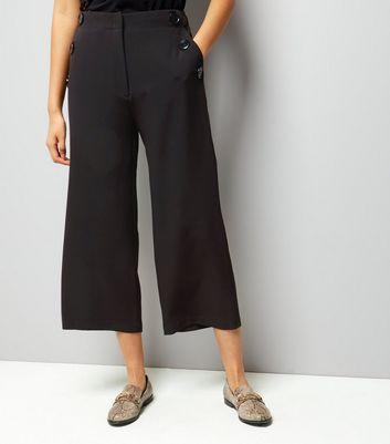 Black Button Trim Wide Leg Cropped Trousers