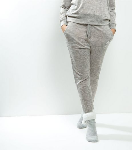 Curves Grey Snowflake Lounge Joggers | New Look