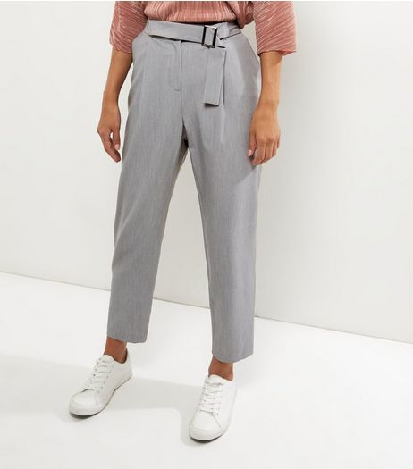 Grey Square Buckle Slim Leg Trousers | New Look