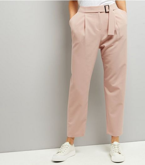 Shell Pink Belted Slim Leg Trousers  | New Look