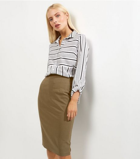 Khaki Bengaline Split Back Midi Pencil Skirt  | New Look