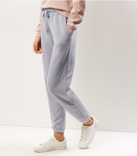 Pale Grey Tie Waist Joggers  | New Look