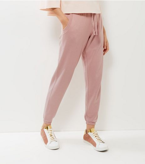 Shell Pink Tie Waist Joggers  | New Look