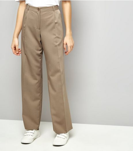 Stone Pleated Wide Leg Pleated Trousers | New Look