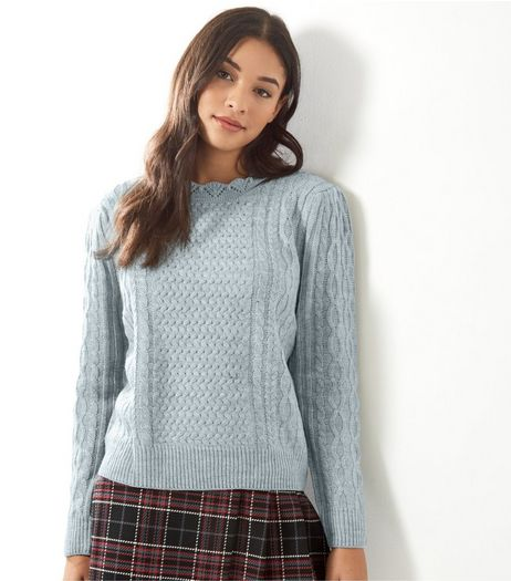 Blue Vanilla Grey Funnel Neck Jumper  | New Look