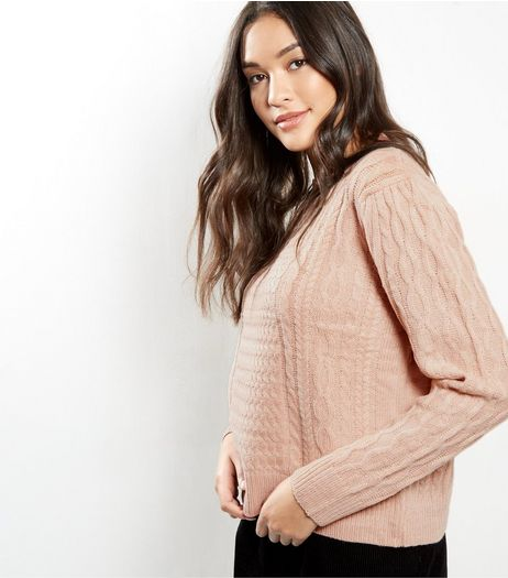 Blue Vanilla Shell Pink Funnel Neck Jumper  | New Look