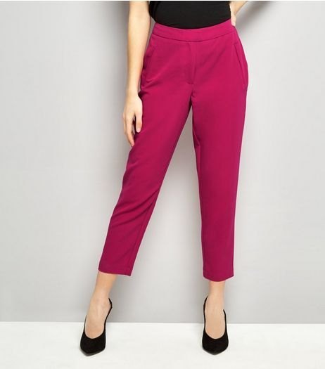 Bright Pink Cropped Slim Leg Trousers | New Look
