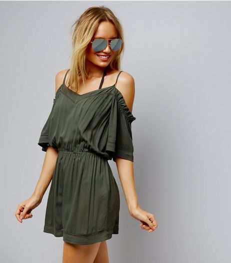 Khaki Cold Shoulder Ladder Trim Beach Playsuit | New Look