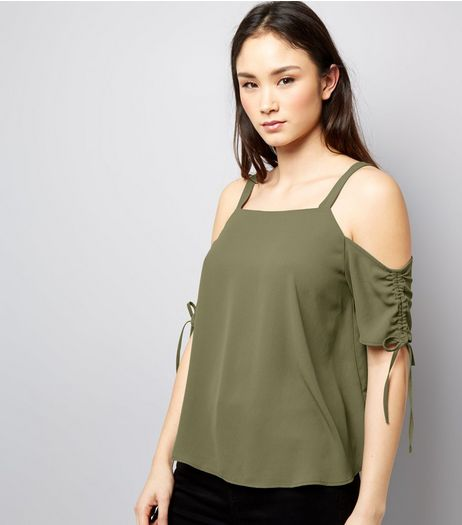 Khaki Gathered Sleeve Cold Shoulder Top | New Look