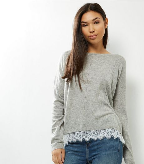Blue Vanilla Grey Lace Trim Jumper | New Look