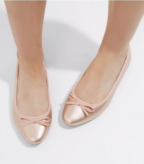 Wide Fit Rose Gold Pointed Ballet Pumps | New Look