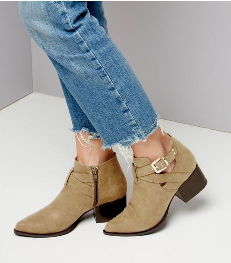 Tan Suedette Cut Out Pointed Boots | New Look