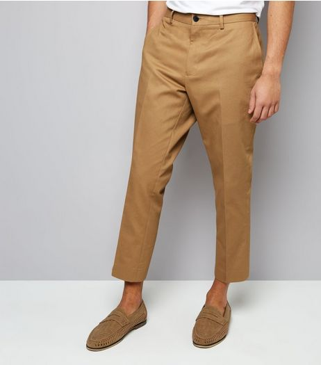 Tan Cropped Cotton Trousers | New Look