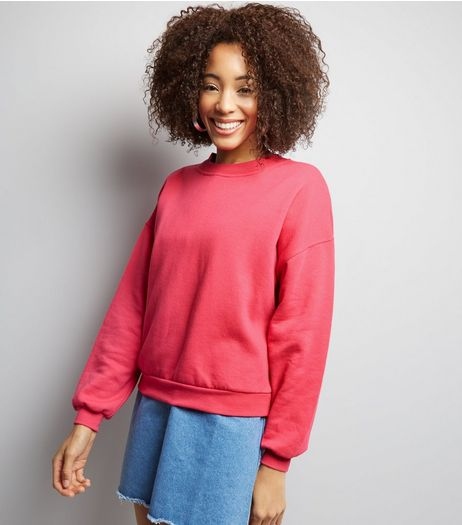 Bright Pink Long Sleeve Sweater  | New Look