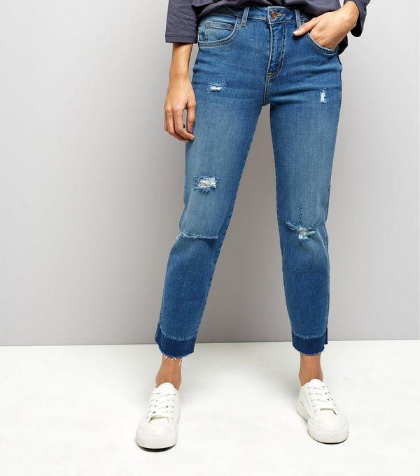 Petite Blue Ripped Straight Leg Jeans