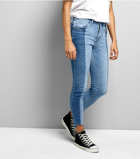 Petite Blue Two Tone Skinny Jeans | New Look