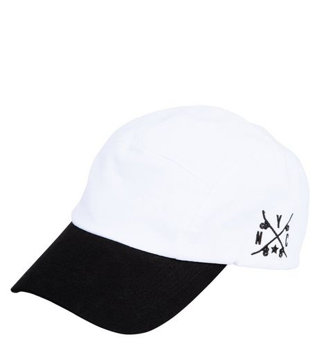 White Contrast Peak Cap | New Look