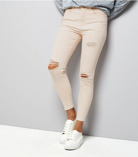 Petite Shell Pink Ripped Knee Skinny Jeans | New Look