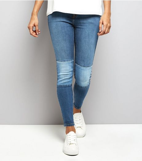 Petite Blue Contrast Knee Panel Skinny Jeans | New Look