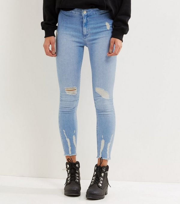 Petite Blue Ripped High Waist Skinny Jeans