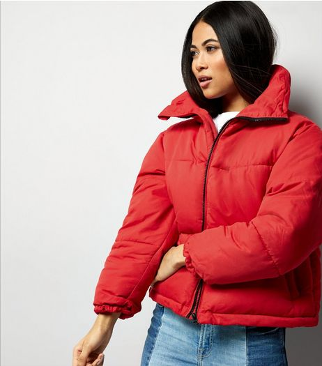 Petite Red Cropped Puffer Jacket | New Look