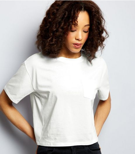 White Boxy Pocket Front T-Shirt | New Look