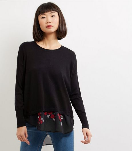 Apricot Black Floral 2 In 1 Jumper | New Look