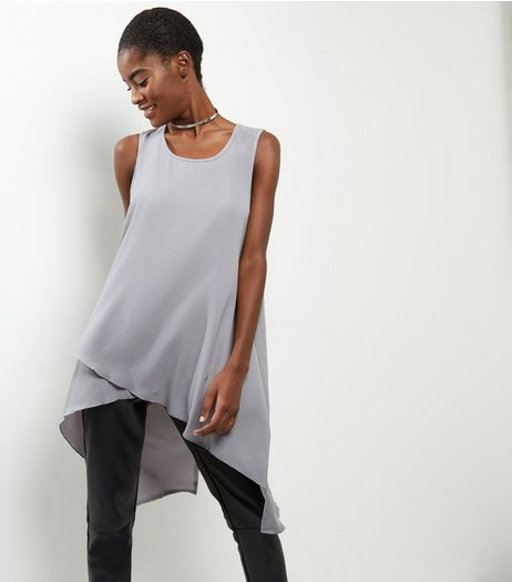 Apricot Pale Grey Split Back Tunic  | New Look