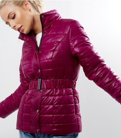 Bright Pink Padded Belted Puffer Jacket  | New Look