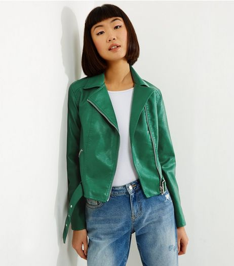 Green Belted Leather-Look Cropped Biker Jacket | New Look