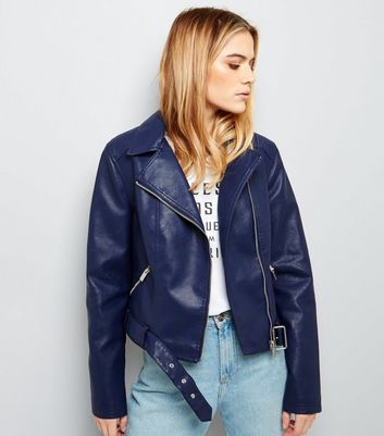 Navy Belted Leather-Look Cropped Biker Jacket