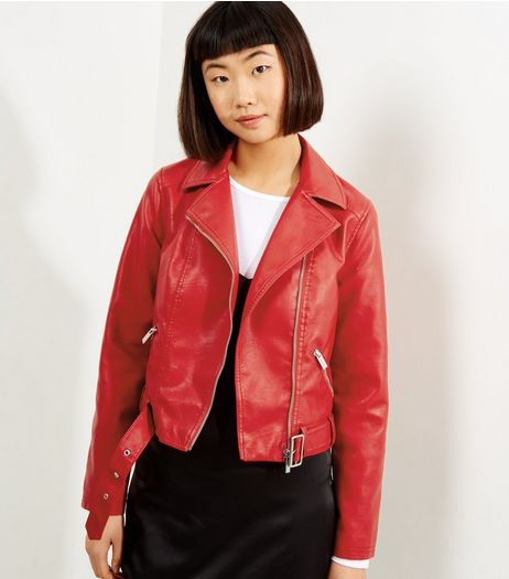 Red Belted Leather-Look Cropped Biker Jacket | New Look