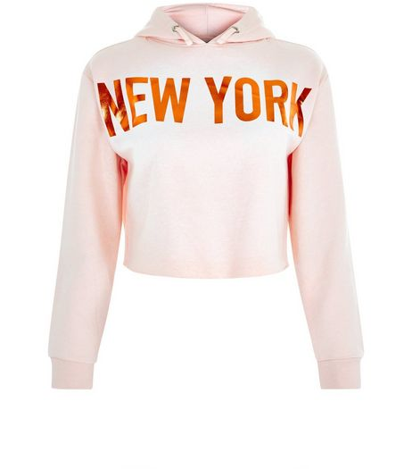 Teens Pink New York Metallic Print Hoodie | New Look