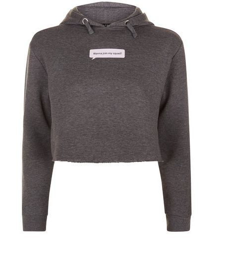 Teens Grey Wanna Join My Squad Print Cropped Hoodie | New Look