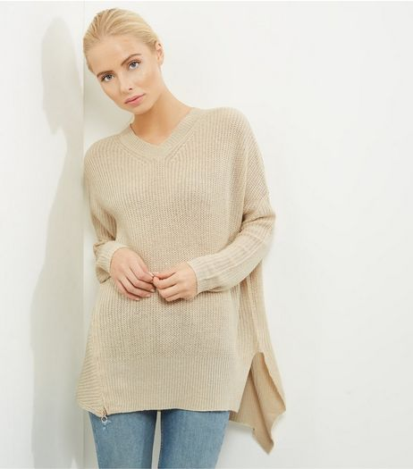 Apricot Stone V Neck Asymmetric Hem Jumper  | New Look