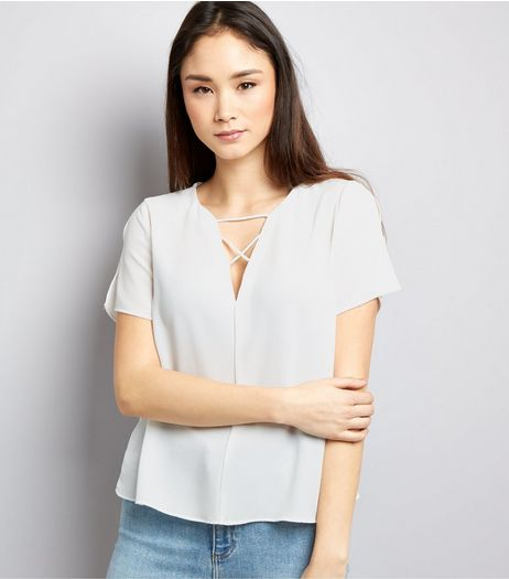White Lattice Front Split Sleeve T-Shirt  | New Look