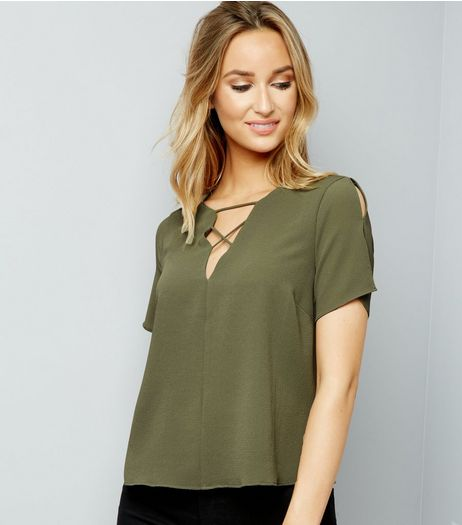 Khaki Lattice Front Short Sleeve T-Shirt | New Look