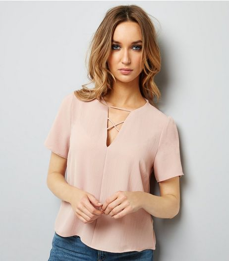 Pink Lattice Front Short Sleeve T-Shirt | New Look