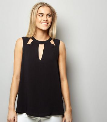 Black Cut Out Sleeveless Top