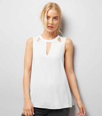 White Cut Out Front Sleeveless Top